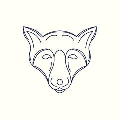 Fox Mono Line Logo. Fox Mascot Logo. Logo Template. Fox vector illustration.