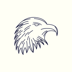 Eagle Mono Line Logo. Eagle Mascot Logo. Eagle Template. Lion vector illustration.
