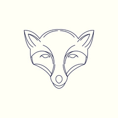 Fox Mono Line Logo. Fox Mascot Logo. Logo Template. Fox vector illustration.