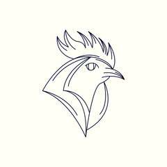 Rooster Mono Line Logo. Rooster Mascot Logo. Logo Template. Rooster vector illustration.