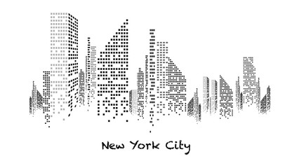 Building blanc et noir éclairé en construction, gratte-ciel, immeuble, lumière, new york, habitation, maison