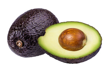 Fototapete - Fresh avocado fruits  isolated on white background, with clipping path