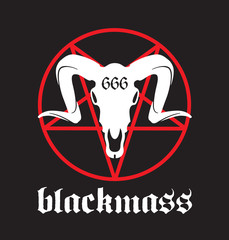 Black Mass vector design featuring pentagram and goat skull with 666 marking.