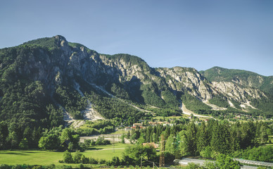 Wall Mural - Summer panorama of Alps mountains