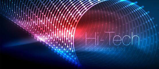 Hi-tech futuristic techno background, neon shapes and dots