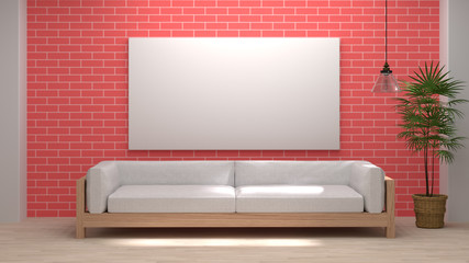 mock up wooden sofa white color In front of a brick wall 3D rendering modern Loft Style room interior wooden floor