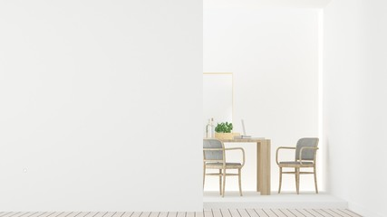 The interior relax space furniture 3d rendering and background white decoration minimal