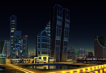 Futuristic City - 3D Computer Graphic Illustration