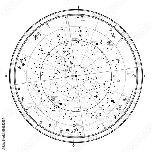 Astrological Celestial map of Northern Hemisphere  Horoscope