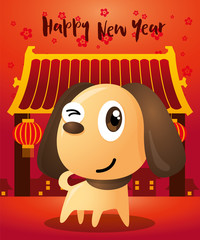 chinese new year 2018 greeting card design with cute dog the year of dog 2018