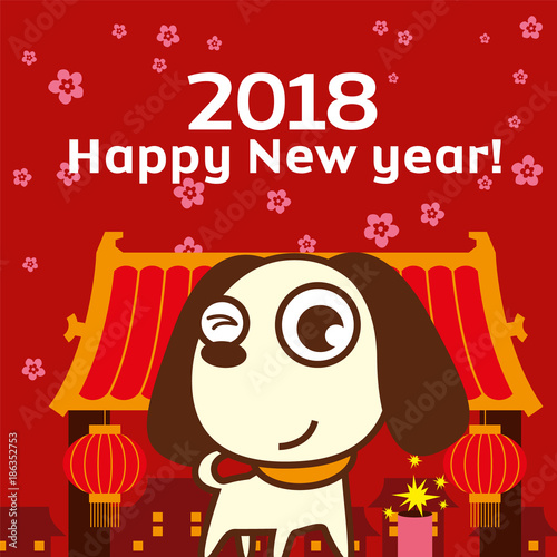 chinese new year 2018 greeting card design with cute dog in chinatown background the year