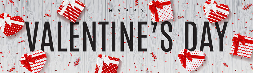 Festive Banner for Happy Valentine's Day. Top View on Composition with Gift Boxes, Confetti and Serpentine on Wooden Texture. Vector Illustration.