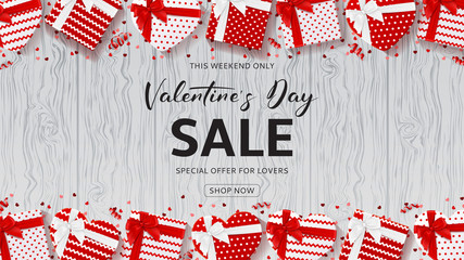 Promo Web Banner for Valentine's Day Sale. Top View on Composition with Gift Boxes, Confetti and Serpentine on Wooden Texture. Vector Illustration with Lettering. Seasonal Discount Offer.