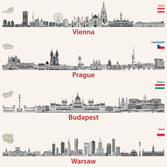 Fototapete - vector city skylines of Vienna, Prague, Budapest and Warsaw. Maps and flags of Austria, Czech Republic, Budapest and Poland.