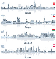 Fototapete - vector abstract city skylines of Vienna, Prague, Budapest and Warsaw in light azure color palette. Flags and maps of Austria, Czech Republic, Hungary and Poland