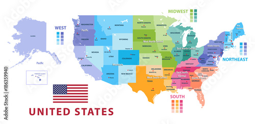 United States census bureau regions and divisions vector map. Flag on