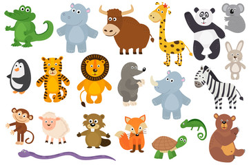 set of isolated animals  - vector illustration, eps