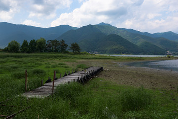 View from a pier at the lakeside of Kawaguchi lake, Japan