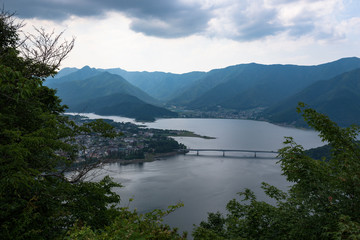 View on Kawaguchi lake at the foot of mount Fuji, Japan