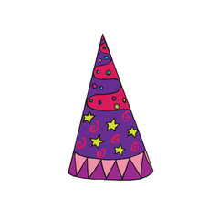 Party (celebration) hat with stars, hand drawn doodle sketch, isolated vector color illustration
