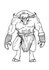 disegno di un minotauro in bianco e nero da colorare