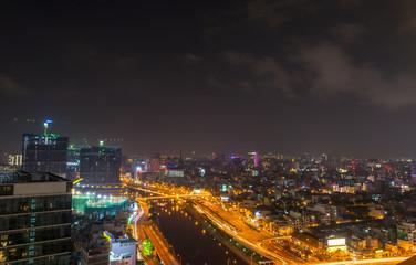 Ho Chi Minh night business center Vietnam Jul 2016