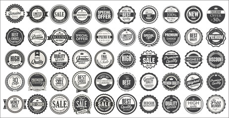 Retro vintage badges and labels mega collection