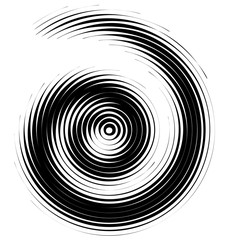Vector halftone spiral design element in black and white.