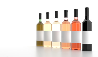 3D Rendering Of Different Wine Bottles With Empty White Labels On White Background Photo Realistic