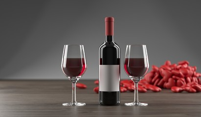3D Rendering Of Stylish Wine Bottle, Pile Of Hearts And Glass Full OF Wine On Dark Oak Wooden Surface And Empty Space