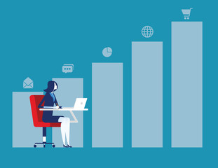 Growth. Businesswoman working and graph to success. Concept business vector illustration.