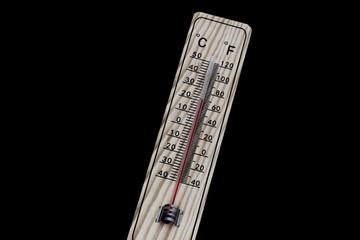 Thermometer zeigt Zimmertemperatur an