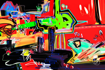 abstract digital painting perfect to interior design or magazine