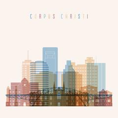 Corpus Christi  state Texas, skyline detailed silhouette. Transparent style. Trendy vector illustration.