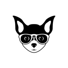 Portrait of chihuahua dog with glasses, black and white flat style. Vector illustration of Hipster dog.