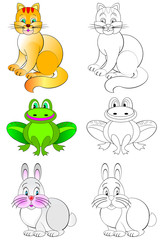 Colorful and black and white pattern for coloring. Illustration of funny animals. Worksheet for children. Vector image.