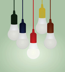 Colorful bulbs. vector illustration