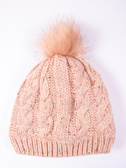 Wool hat for winter weather on a white background.