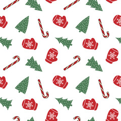 cute red mittens with snowflakes glove green christmas tree candy cane on a white background  pattern seamless vector