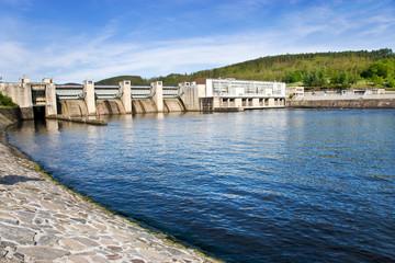 dam on Vltava river, Kamyk nad Vltavou, Central Bohemian region, Czech republic
