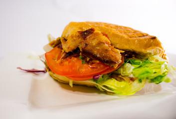 döner kebab on a white plate