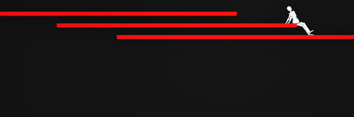 Website-Header/Banner in schwarz-rot, mit Balken auf denen eine Marionetten-Figur sitzt.