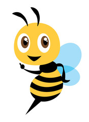 Flat cartooon cute bee pointing. vector illustration isolated