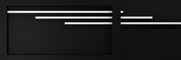 Website-Header in 3d, mit Kastenform und Streifen in schwarz-weiß.