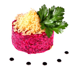 Salad of beets and cheese