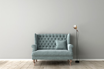 3d illustration of empty grey wall interior design with classic sofa