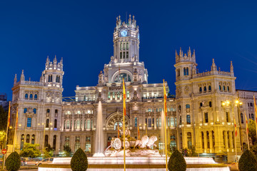 Plaza de Cibeles in Madrid with the Palace of Communication at night