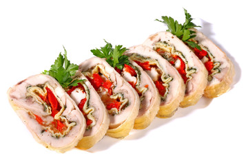 Sliced rolled meat