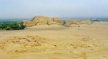 The Huaca del Sol brick temple built by the Moche civilization near Trujillo, Peru