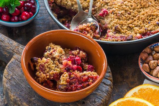 Cranberry, apple  and hazelnut crumble
